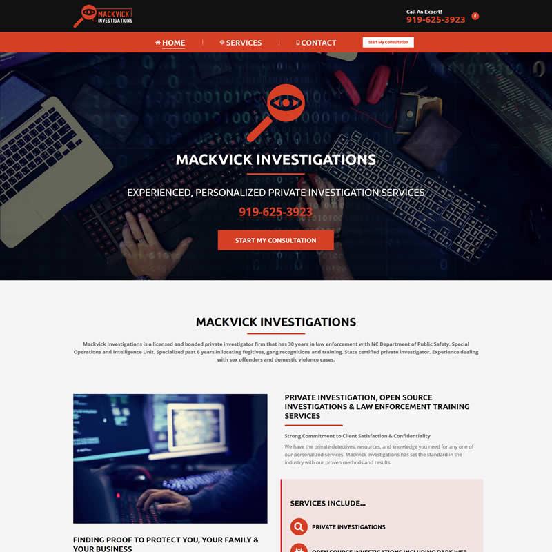 Mackvick Investigations Clayton Nc Web Design